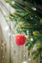 Christmas Composition with Red Apple Stock Photography