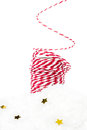 Christmas composition with red hemp ribbon decorations golden stars and snow isolated on white background Royalty Free Stock Photos