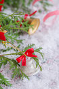 Christmas composition with silver bell decoration Stock Photography
