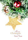 Christmas composition with star snow and decorations with e fir tree easy removable sample text Royalty Free Stock Photo