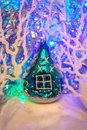 Christmas composition: Vintage glass tree toy house, twisting wh Royalty Free Stock Photo