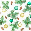 Holiday concept of winter trees on white background. Christmas or New year composition. Flat lay, top view