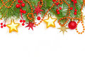 Christmas concept - border of Xmas tree branch Stock Photography