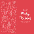 Christmas concept, flyer, card with traditional attributes in line style with white hand lettering inscription. Handwritt