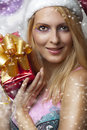 Christmas concept. happy woman with gift Royalty Free Stock Photography