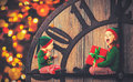 Christmas concept. Two little elf helper of Santa Royalty Free Stock Photo