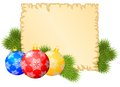 Christmas congratulations background with old paper sheet multicolored balls and fir branches Stock Image