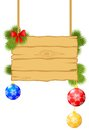Christmas congratulations signboard with multicolored balls and fir branches Royalty Free Stock Photo