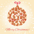 Christmas cookie ball merry greeting card design Stock Photo