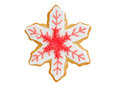 Christmas cookie red snowflake  on white Royalty Free Stock Photo
