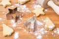 Christmas cookies and baking dish on a wooden board selective focus horizontal Stock Photos
