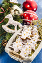 Christmas cookies in a basket on the background of tree branches Stock Photos