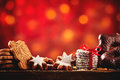 Christmas cookies and biscuits festive background Royalty Free Stock Photo