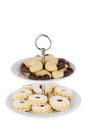 Christmas cookies on a cake stand; Clipping path Royalty Free Stock Photo