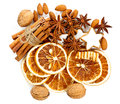 Christmas cookies cinnamon anise stars nuts with sticks and sliced of dried orange Stock Image