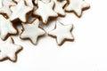 Christmas cookies, cinnamon stars, corner background on white