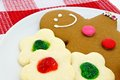 Christmas cookies cookie close up with checker cloth Royalty Free Stock Images