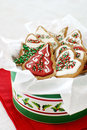 Christmas cookies decorated gingerbread in a tin Royalty Free Stock Photo