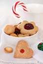 Christmas cookies decorated with jam Stock Photos