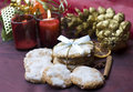 Christmas cookies on decorated table Royalty Free Stock Images