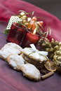 Christmas cookies on decorated table Royalty Free Stock Photo