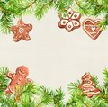 Christmas cookies, ginger bread man, conifer tree branches frame. Christmas card, empty blank. Watercolor