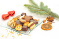 Christmas cookies on a glass plate Stock Photo