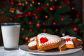 Christmas cookies milk and under the tree waiting for santa Royalty Free Stock Images