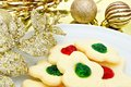 Christmas cookies plate of with golden decor Stock Photography