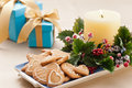 Christmas cookies, and presents Royalty Free Stock Photography