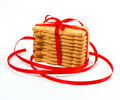 Christmas cookies with red ribbon Royalty Free Stock Image