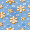 Christmas cookies seamless pattern illustration of sweet gingerbread snowflake Royalty Free Stock Photo