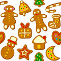 Christmas cookies seamless pattern a with isolated on white background useful also as design element for texture or gift Stock Image