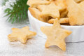 Christmas cookies in the shape of a star close up selective focus horizontal Royalty Free Stock Photo