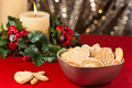 Christmas cookies, short bread in festive setting Stock Photography