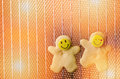 Christmas cookies, shortbread with smiling faces in hot oven Royalty Free Stock Photo