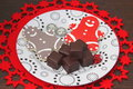 Christmas cookies some with chocolate Stock Photography