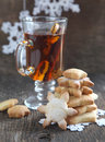 Christmas cookies and spiced tea selective focus Royalty Free Stock Image