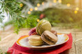 Christmas cookies, tasty macaroons on plate Royalty Free Stock Photo