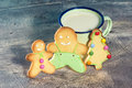 Christmas cookies and tin cup Royalty Free Stock Photo