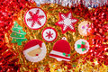 Christmas cookies xmas tree santa snowflake on golden background Royalty Free Stock Images