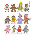 Christmas costumes kids party with happy dressed in masquerade Royalty Free Stock Photography
