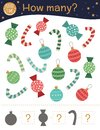 Christmas counting game with balls, candy canes, sweets. Winter math activity for preschool children.