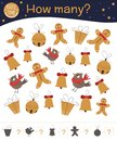 Christmas counting game with gingerbread man, bell, present, bird. Winter math activity for preschool children.