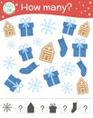 Christmas counting game with gingerbread, snowflake, present, stocking. Winter math activity for preschool children. How many Royalty Free Stock Photo