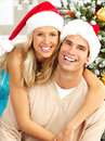 Christmas couple Stock Photos