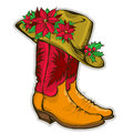Christmas cowboy boots and western hat with holida holiday decoration vector illustration Royalty Free Stock Image