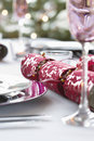Christmas Cracker On Dining Table Royalty Free Stock Photo