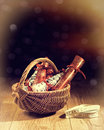 Christmas crackers homemade in basket with vintage feel and bokeh background Stock Images