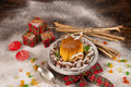 Christmas creme caramel with decoration dessert for kids in the shape of a house Stock Photos